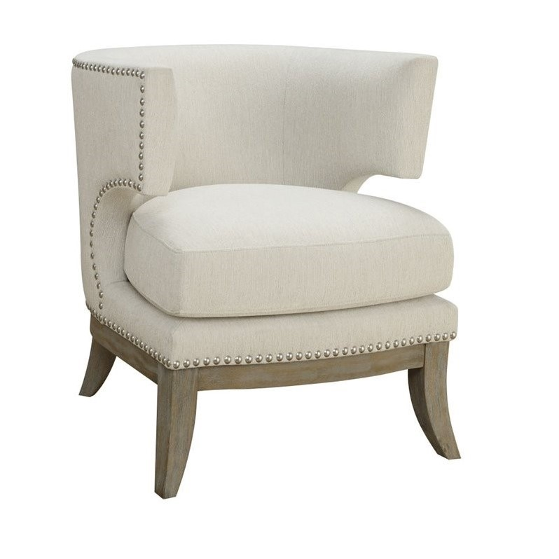 barrel back chair power reclining chairs coaster upholstered accent in white 902559