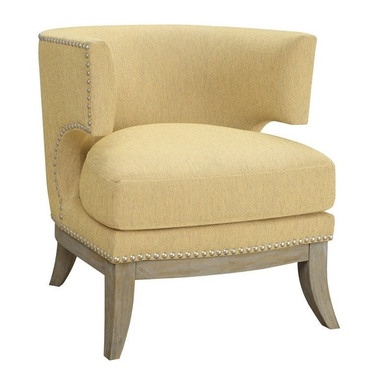 yellow upholstered accent chair small round cushions coaster barrel back in 902562