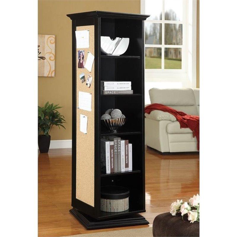 Coaster 5 Shelf Swivel Bookcase with Mirror in Black  910083