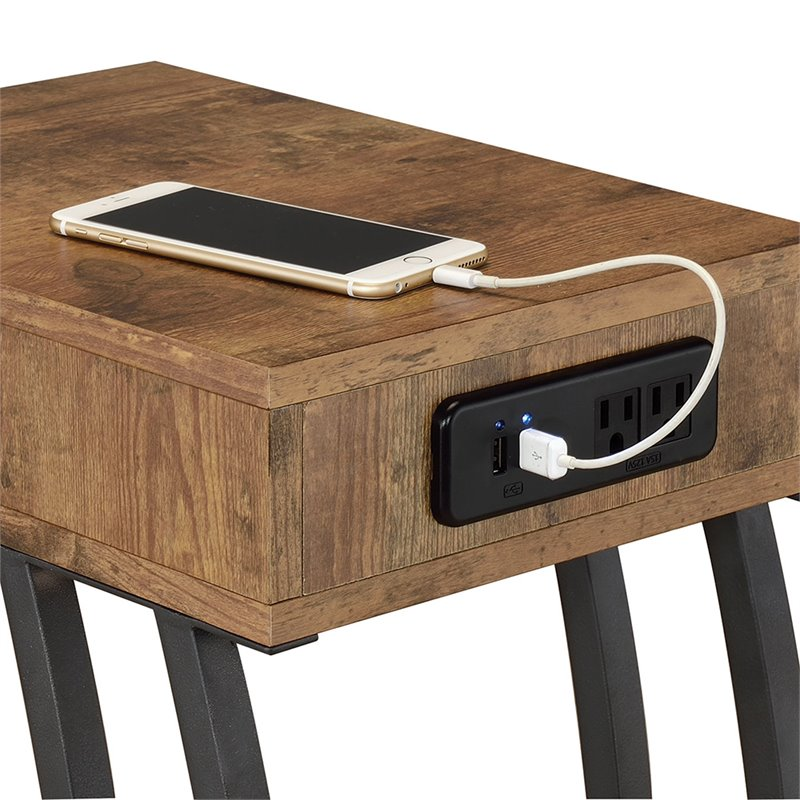 coaster end table with 2 power outlets and usb ports