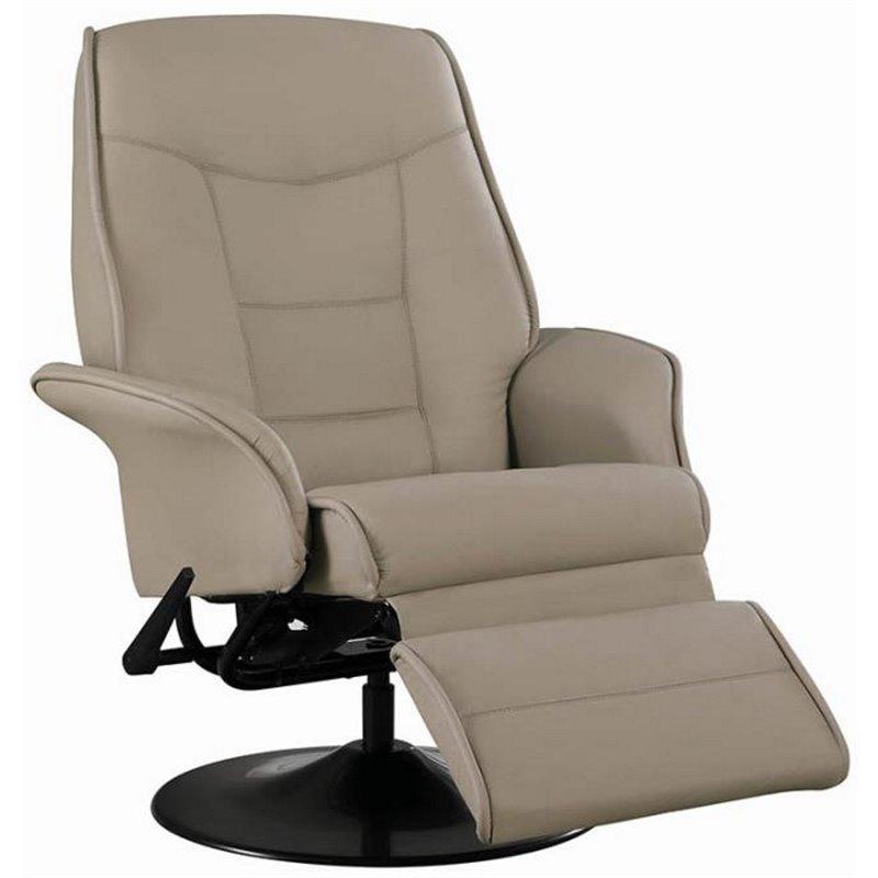 Coaster Furniture Faux Leather Swivel Recliner Chair in Bone Finish  7502