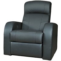 Coaster Furniture Leather Home Theater Recliner in Black ...
