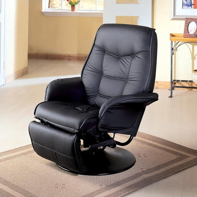 chairs that swivel and recline chicco polly high chair coaster furniture faux leather recliner in black 7501