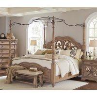 Coaster Ilana Queen Mirrored Canopy Bed in Cream - 205071Q