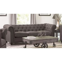 Tufted Button Sofa Mart Boise Hours Coaster Roy In Gray 550361