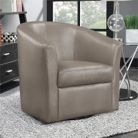 Coaster Faux Leather Upholstered Swivel Accent Chair in ...