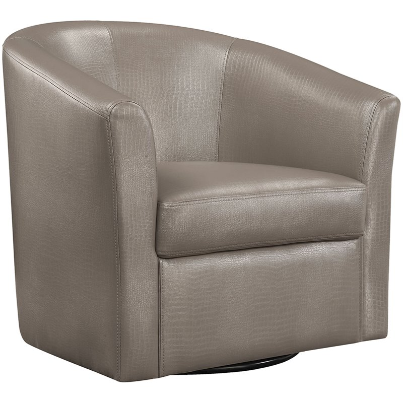 Coaster Faux Leather Upholstered Swivel Accent Chair in