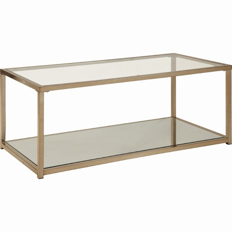 coaster calantha 47 25 contemporary glass top coffee table in chocolate chrome