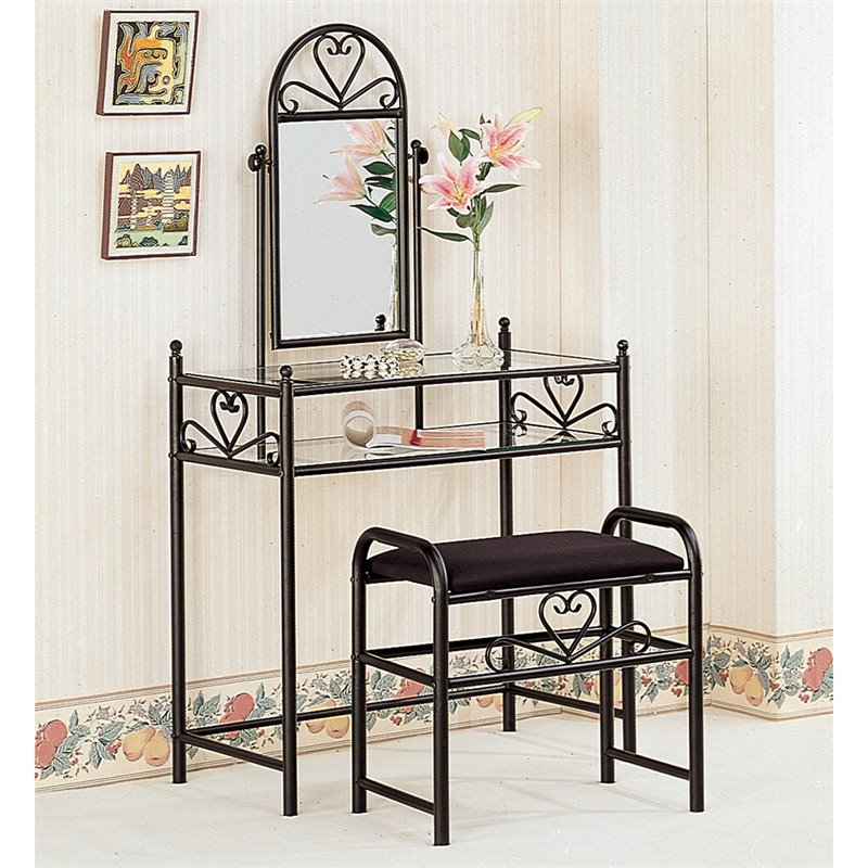 makeup vanity chairs lacquer dining coaster frosted black wrought iron table set with mirror in velour - 2432ii
