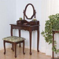 Coaster Traditional Wood Makeup Vanity Table Set w Mirror ...