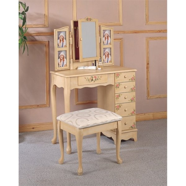 Coaster Hand Painted Wood Makeup Vanity Table Set With
