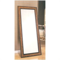 Decorative Bathroom Mirrors: Coaster Antique Brown Leaning