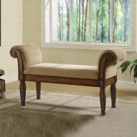 Coaster Upholstered Bench w/Rolled Arms Living Room Benche ...
