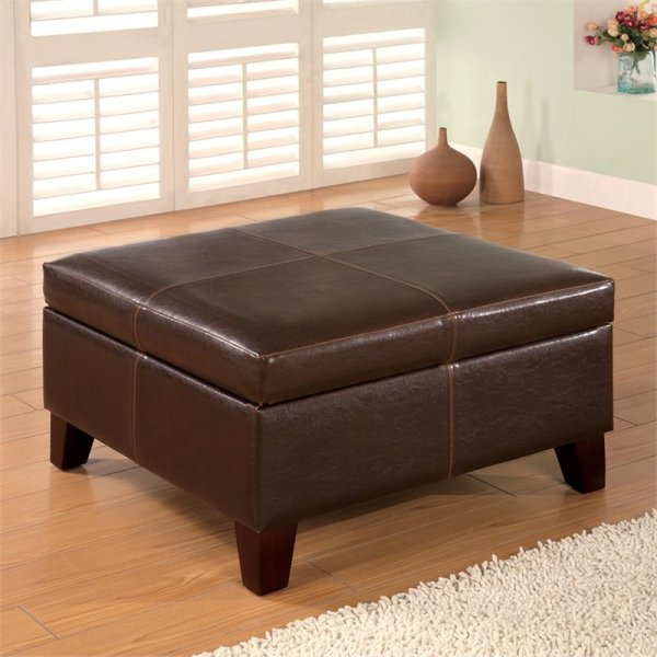 Coaster Dark Brown Contemporary Square Faux Leather Storage Ottoman - 501042