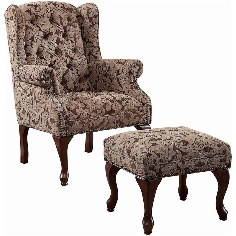 Coaster Queen Anne Button Tufted Wing Accent Chair w Club