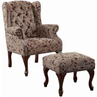 Coaster Queen Anne Button Tufted Wing Accent Chair with ...