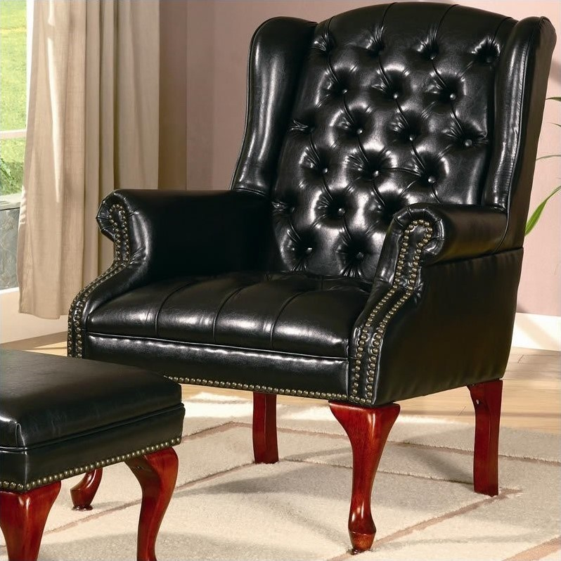 leather wingback chairs hanging egg chair with stand nz coaster wing back tufted faux arm and ottoman in black