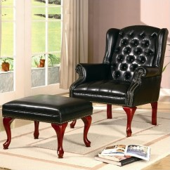 Queen Anne Wingback Chair Leather Dining Seat Covers Nz Coaster Wing Back Tufted Faux Arm And Ottoman In Black 900262