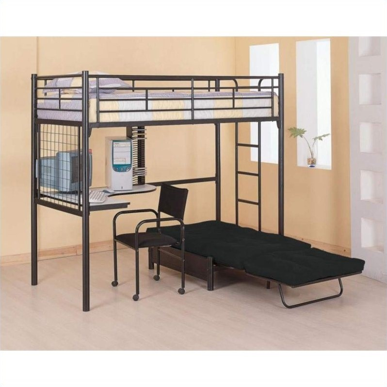 loft bed with desk and futon chair swing mudah coaster max twin over metal bunk in black finish