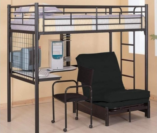 Coaster Max Twin Over Futon Metal Bunk Bed With Desk In Black Finish 22092335m