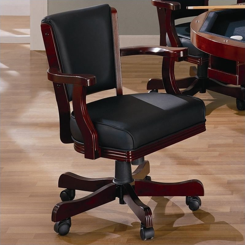 poker chairs with casters evenflo convertible high chair coaster mitchell upholsted arm in cherry - 100202