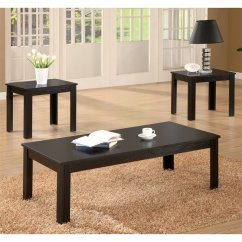 3 Piece Table Set For Living Room Design With Fireplace Coaster Casual Occasional In Black 700225