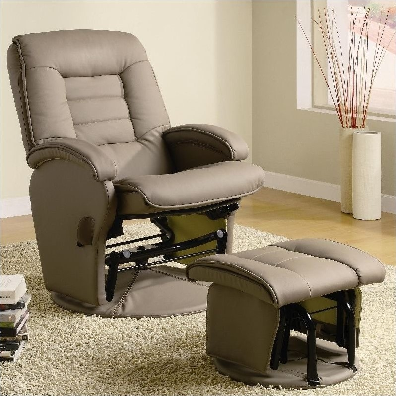 glider recliner chair leather wing chairs uk coaster recliners with ottomans ottoman in tan vinyl 600166