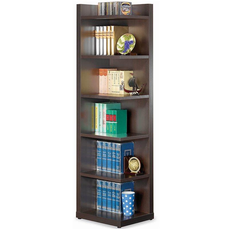 Coaster Corner Bookcase with Open Side in Cappuccino  800270