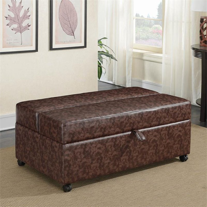 storage bench living room modern colors coaster with fold out sleeper and casters in brown