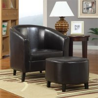 Coaster Faux Leather Accent Chair and Ottoman Chairs in ...