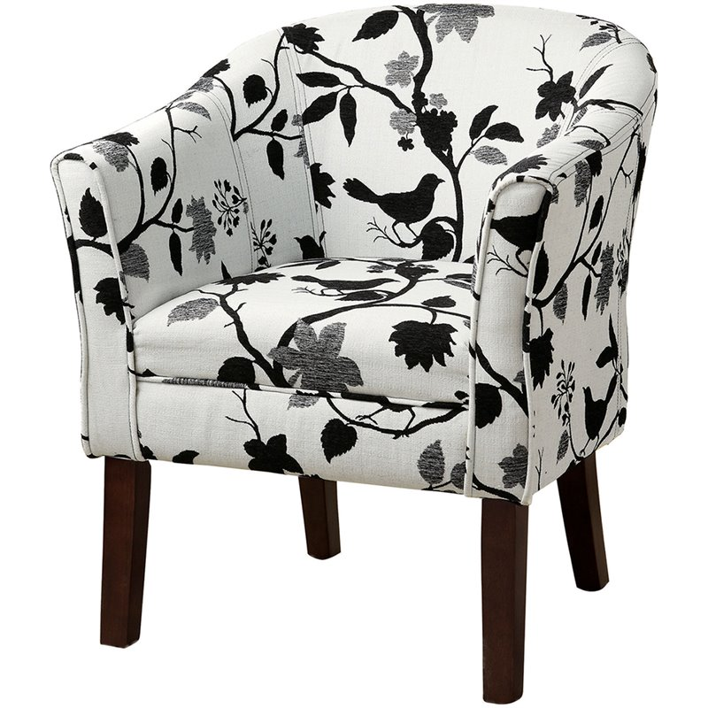 black and white accent chairs with arms office chair next coaster barrel in bird branch pattern 460406