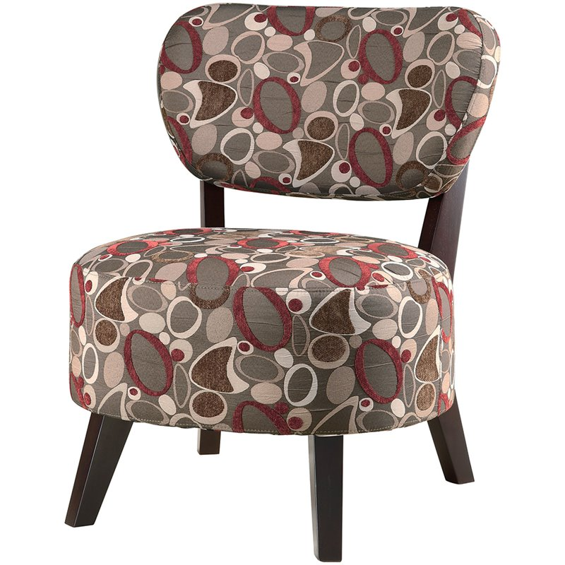 brown slipper chair back support for office singapore coaster upholstered in floral pattern 900425