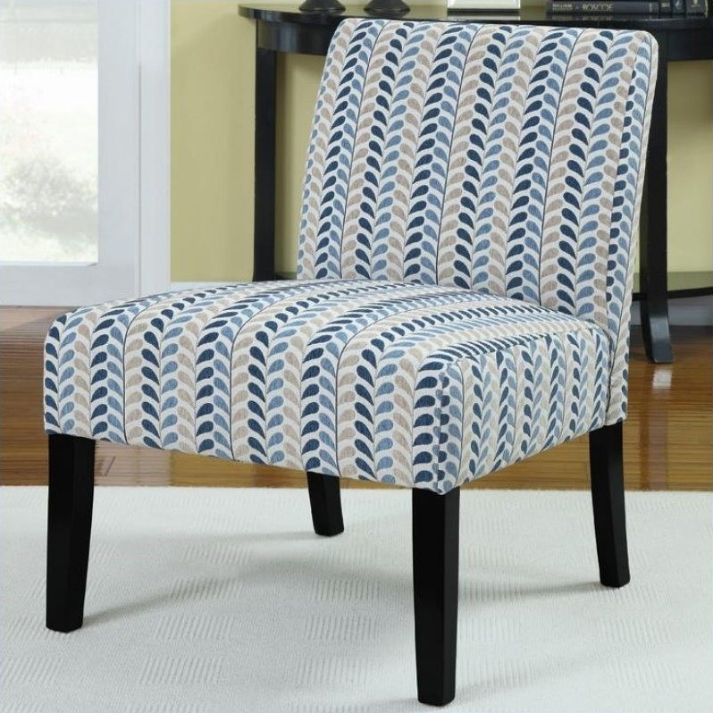 Coaster Upholstered Accent Slipper Chair in Blue Leaf