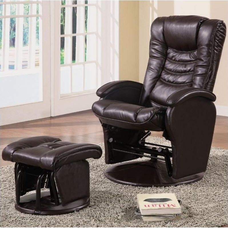 reclining chair with ottoman leather fishing lazada coaster faux glider recliner in brown 600165