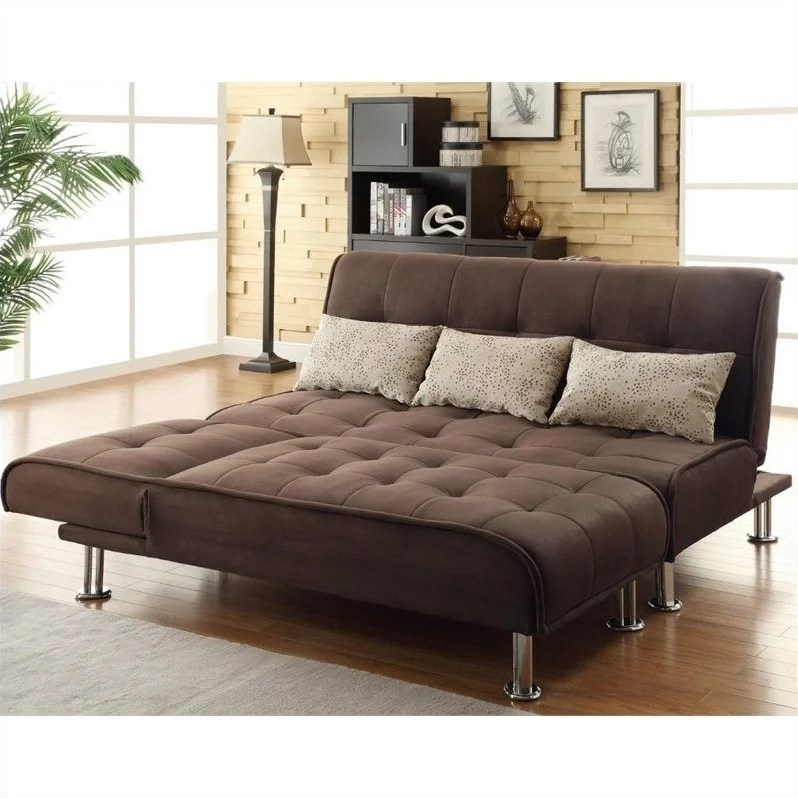 leather chair bed sleeper high back coaster transitional styled sofa and chaise in brown 300276 277 kit