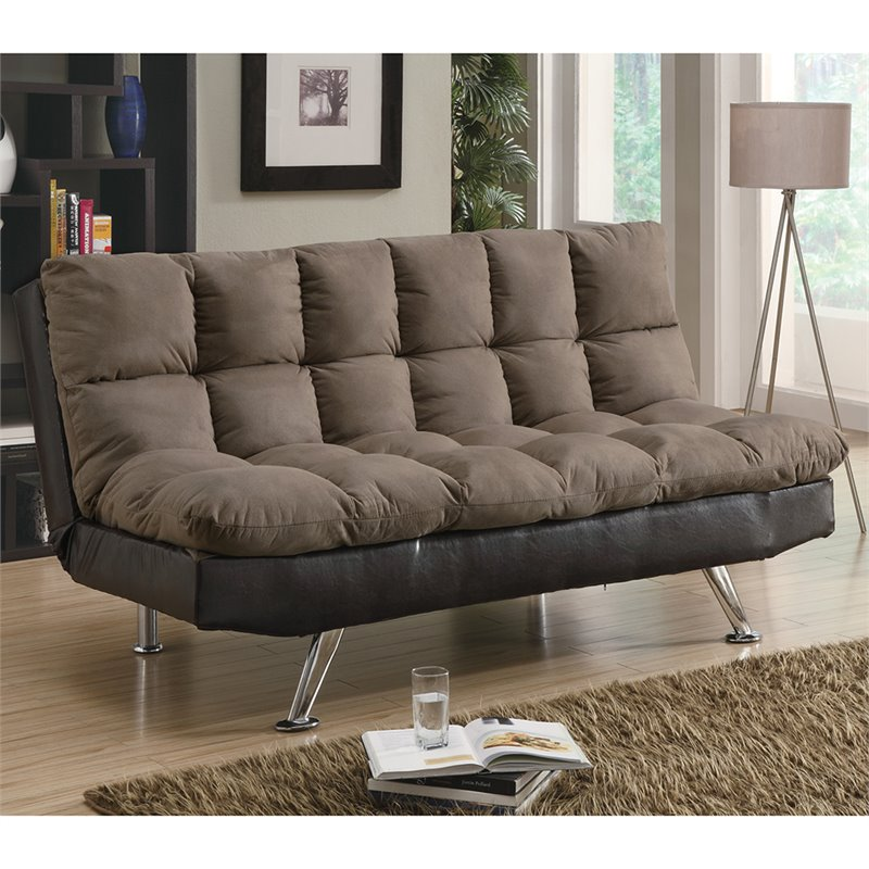 microfiber sofas how to dry clean sofa covers at home coaster plush two tone in brown 300306