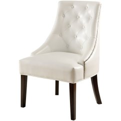 White Tufted Chair Oak Slat Back Dining Chairs Coaster Upholstered Swayback Accent In 900283ii