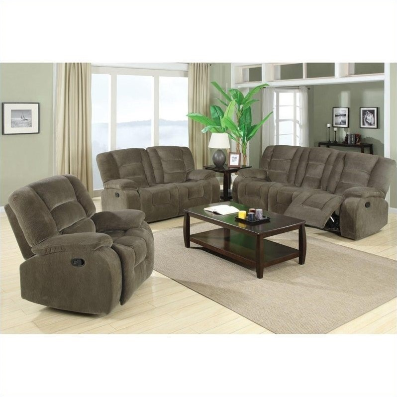 Coaster Charlie Motion 3 Piece Reclining Sofa Set 600991