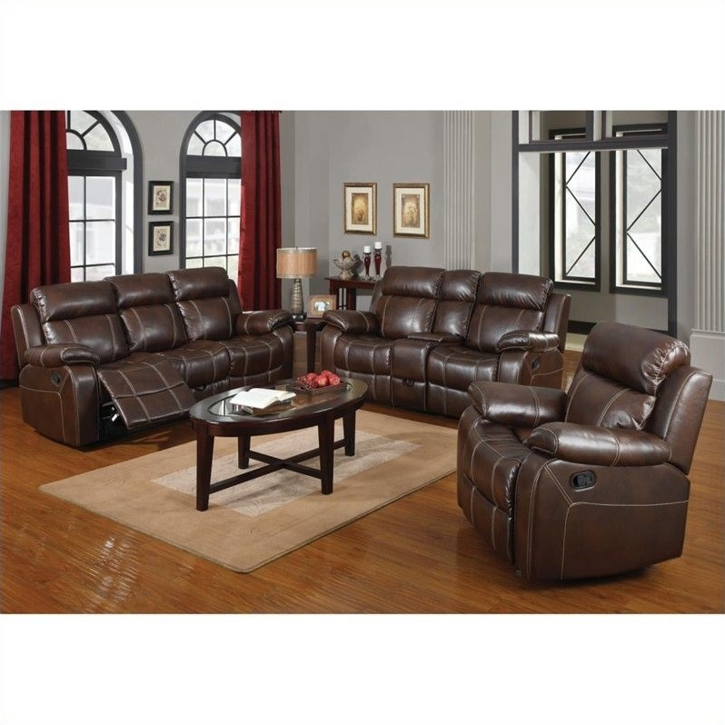 2 piece brown leather sofa new england horsham coaster myleene 3 reclining set in 603021 22 23 3pkg