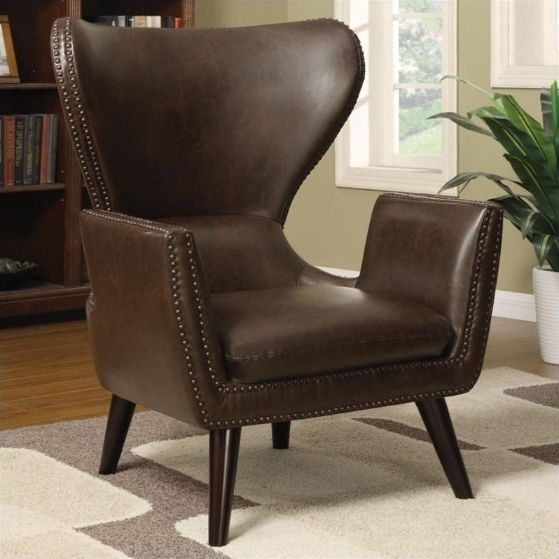 Coaster Transitional Faux Leather Accent Chair in Brown