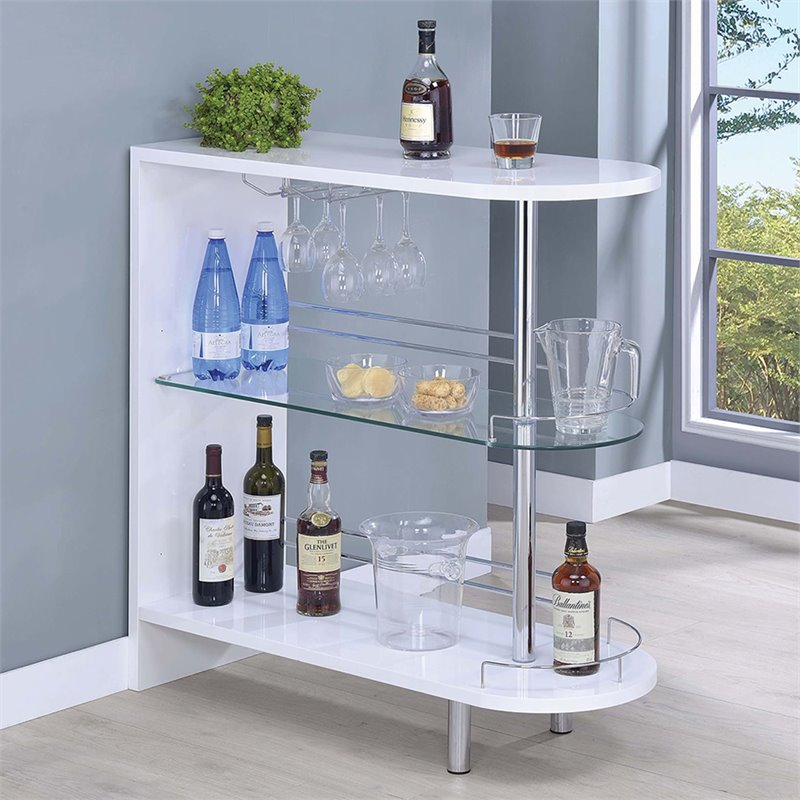 pub height outdoor table and chairs cane seat antique coaster contemporary home bar with glass shelf in white - 101064