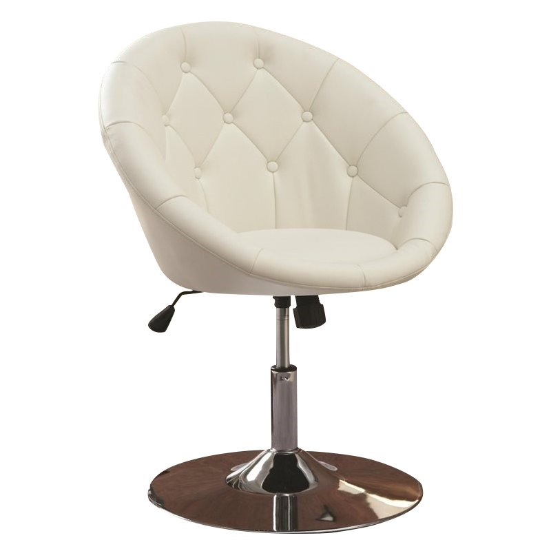 Round Tufted Faux Leather Swivel Accent Chair Wrought Iron