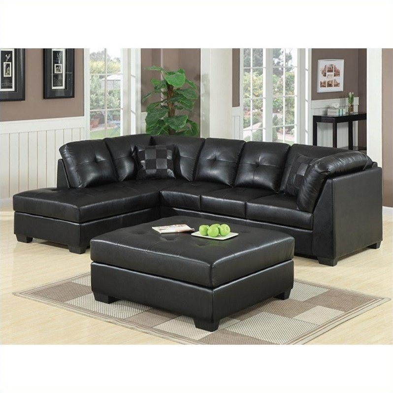white leather sectional sofa with ottoman turquoise uk coaster darie in black 500606 500607 pkg