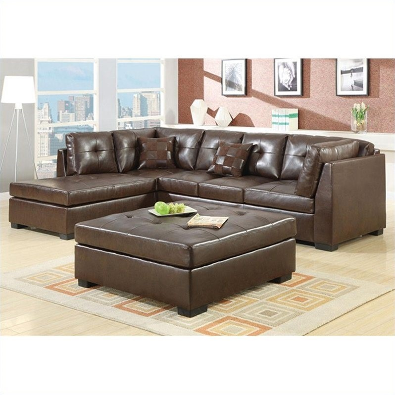 white leather sectional sofa with ottoman wicker cushions uk coaster darie in brown 500686 500687 pkg
