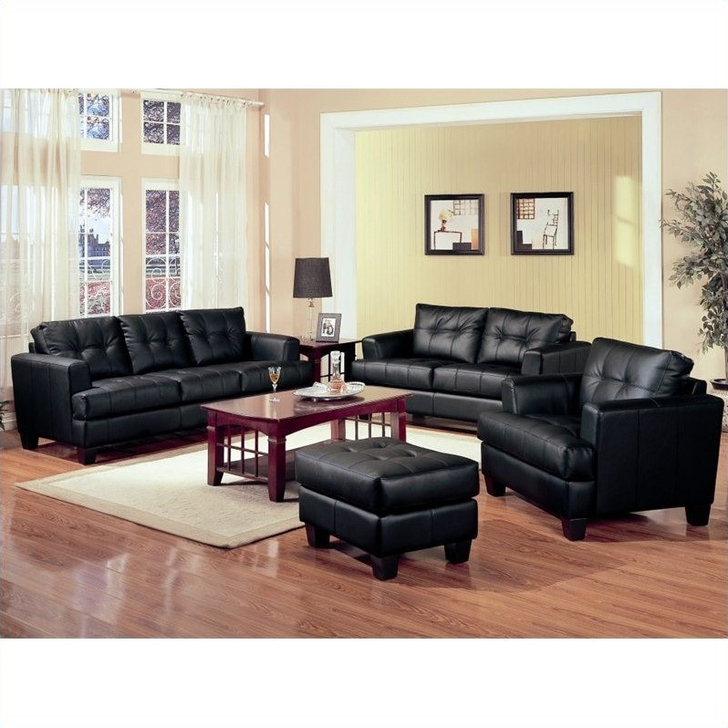 set of leather sofas ekornes manhattan sofa coaster samuel 3 piece in black 50168x 3pc pkg