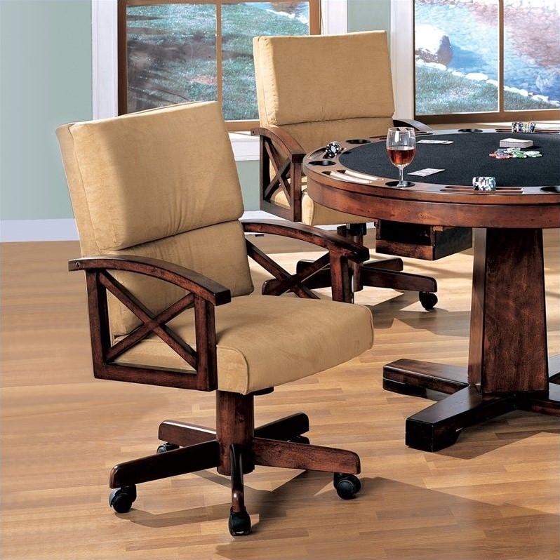 poker table chairs with casters eames chair used coaster marietta upholstered arm game in dark oak set of 2 100172 kit