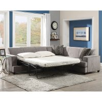Coaster Fabric Sleeper Sectional in Gray - 500727