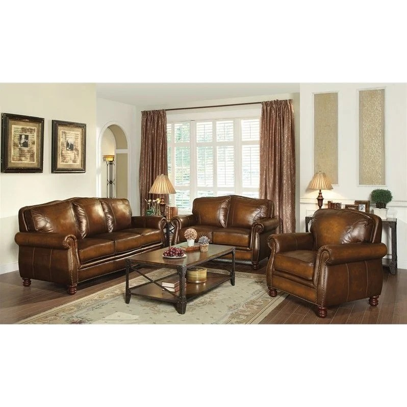 2 piece brown leather sofa cheap sofas glasgow coaster montbrook 3 set in 503981 pkg