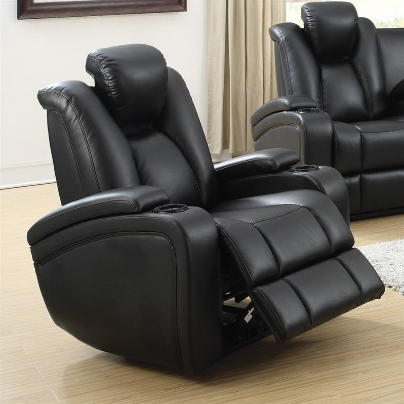living spaces accent chairs beach folding chair coaster delange faux leather power recliner in black - 601743p