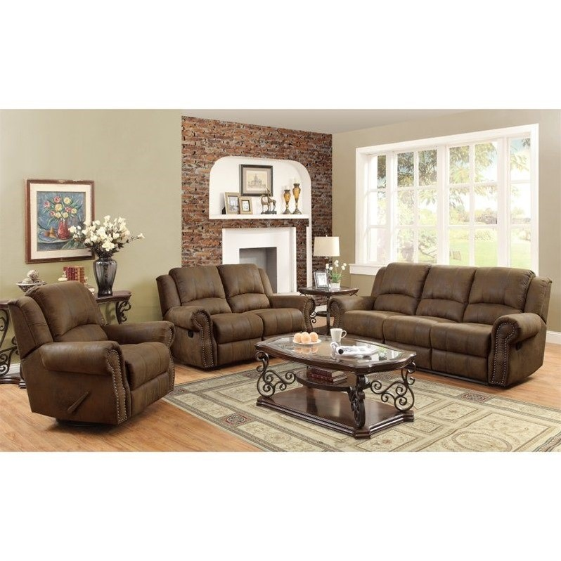 Coaster Rawlinson Microfiber Motion Reclining Sofa Set in